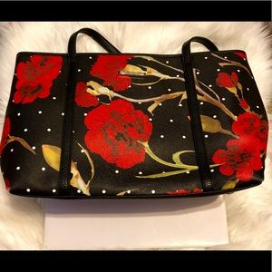 Dana Buchman Black Red Rose Floral Tote Purse